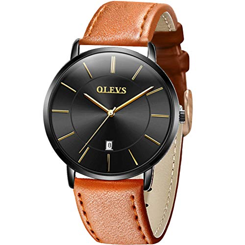 OLEVS Watch Men Leather Watches for Men