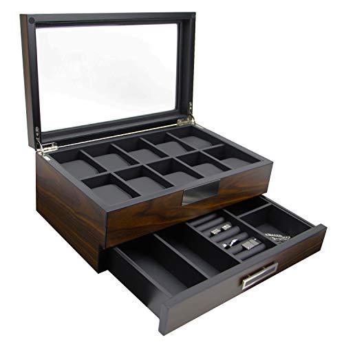 Executive Wooden Watch Box Storage Organizer