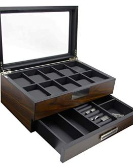 Executive Wooden Watch Box Storage Organizer