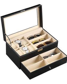 Leather Watch Box Jewelry Case Lockable
