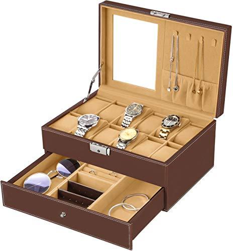 bestwishes Watch Box 12 Slots Watch Organizer Jewelry