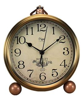 Vintage Non-Ticking Metal Golden Table Clock