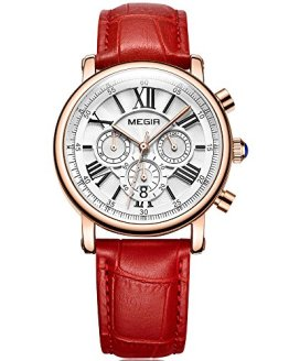 Red Leather Waterproof Chrongraph Wristwatch 24-Hour MEGIR