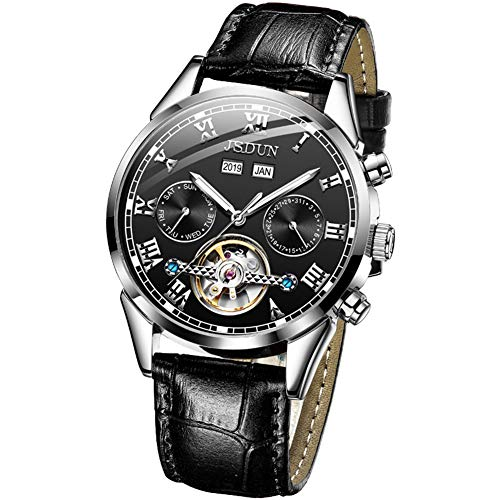 Mens Watches Automatic Self Winding Mechanical Luxury Leather