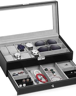 TomCare Upgraded Watch Box Watch Case Jewelry for Men Women