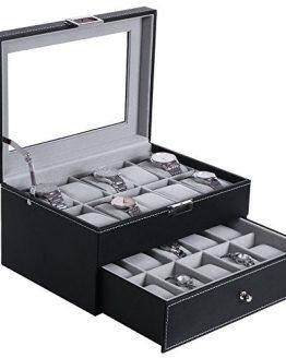 BEWISHOME Watch Box Organizer 20 Men Display Storage Case