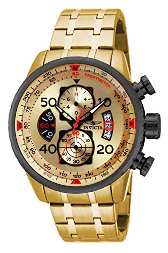 Invicta Men's Aviator 48mm Gold Tone Stainless Steel