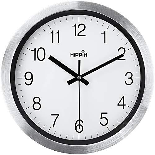 Kitchen Modern Silver Decorative Silent Metal Wall Clock