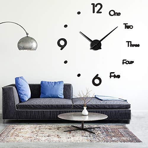 3D Frameless DIY Wall Clock Large Modern 3D