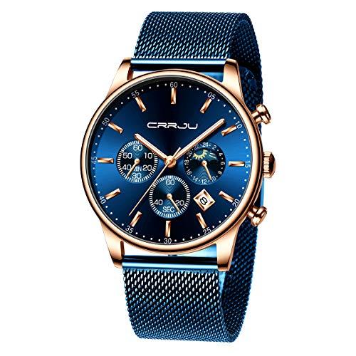 Blue Mesh Stainless Steel Waterproof Wrist Watch TIMEWHEEL