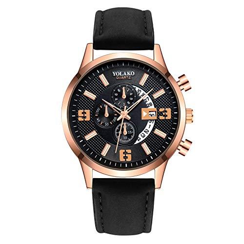wSelio Men's Minimalist Wrist Watch, Leather Strap Mechanical