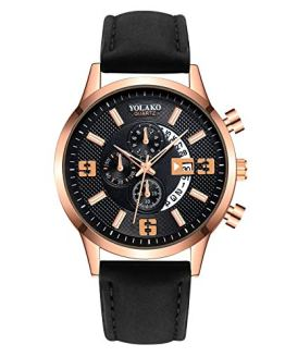 wSelio Men's Minimalist Wrist Watch, Leather Strap Mechanical