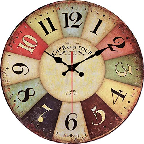 Rustic Wall Clock Battery Operated Non Ticking
