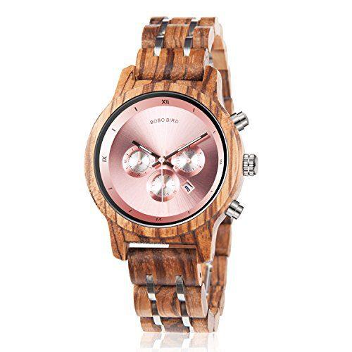 Wooden Watches Luxury Wood Metal Strap Chronograph BOBO BIRD
