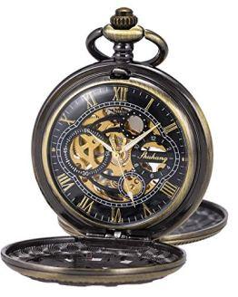 Pocket Watch Skeleton Mechanical Double Case Hand-Wind