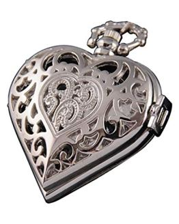 Silver Pocket Watch Heart Harry Potter Locket Style Pendant