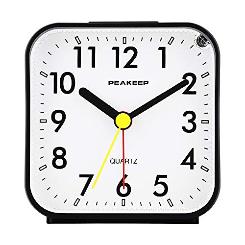 Black Analog Travel Alarm Clock Silent No Ticking