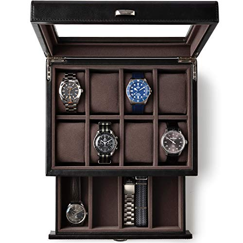 Black Leather Watch Box Organizer with Drawer Valet