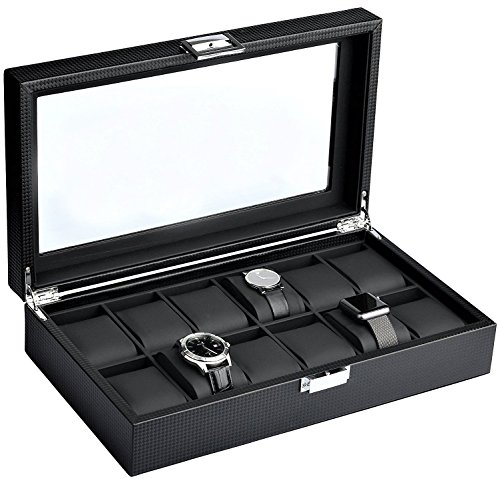 Mantello Watch Box Glass Lid Window on Carbon Fiber Case