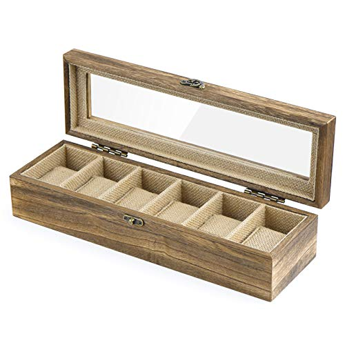 Watch Box Case Organizer Wood Box with Glass Top