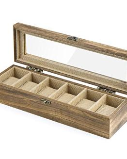 Watch Box Case Organizer Wood Box with Glass Top