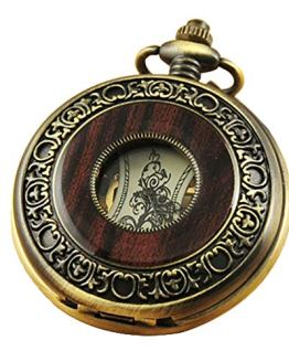VIGOROSO Men's Hand-Wind Mechanical Pocket Watch
