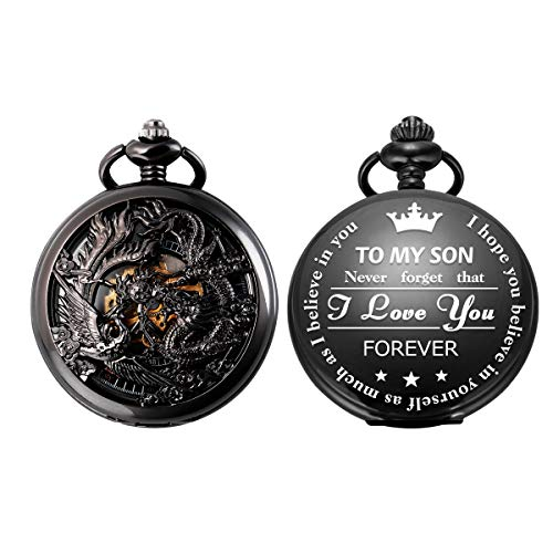 SIBOSUN Pocket Watch Personalized Engraved Back Case