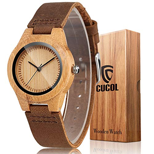 CUCOL Womens Wooden Bamboo Watches Brown Genuine