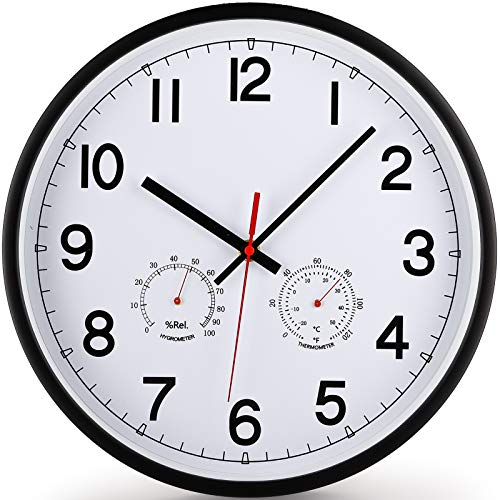 12-Inch Wall Clock with Temperature and Humidity