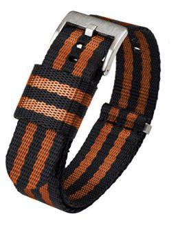 BARTON Jetson NATO Style Watch Strap, 22mm Black / Orange