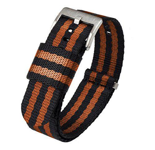 24mm Black, Orange - BARTON Jetson NATO Style Watch Strap