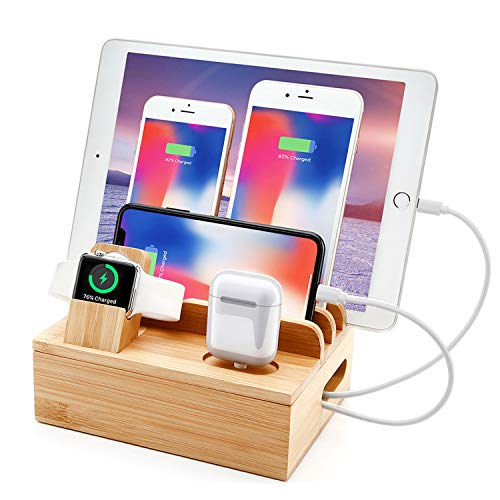 Bamboo Charger Station Smart Watch Holder