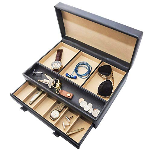 Watch Box with Valet Drawer for Dresser