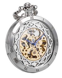 Pocket Watch Automatic Skeleton Mechanical Open Face Men