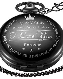 LYMFHCH Black Personalized Pocket Watch Gifts
