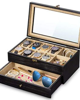 SRIWATANA Watch Box Display Case, 8 Slot Watch Organizer
