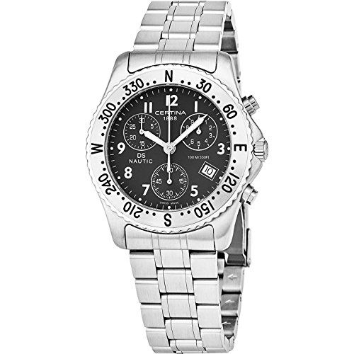 Certina DS Nautic Silver/Black Stainless Steel Watch