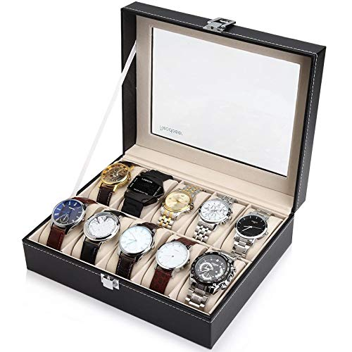 Readaeer 10 Slot Leather Watch Box Display Case