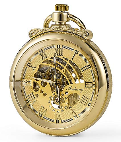 SEWOR Modern Smooth Pocket Watch with Exquisite Carving