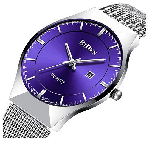Men Watch Ultra Thin Watches Stainless Steel Mesh Band Quartz Wristwatch Fashion Date Waterproof Watches (Purple)