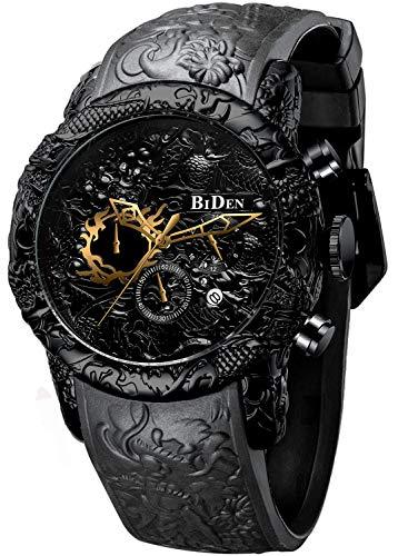 Chronograph Black Big Face Waterproof Date Analog Quartz Watch 3D Dragon