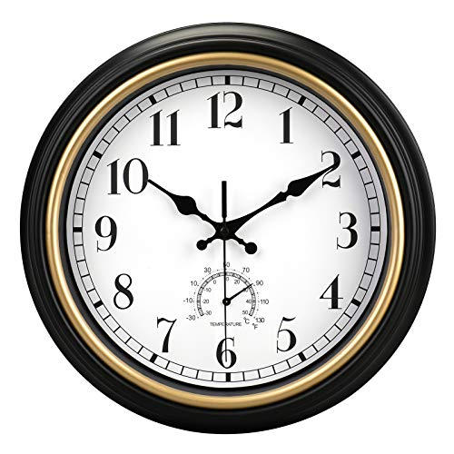 Retro Quartz Wall Clock with Thermometer
