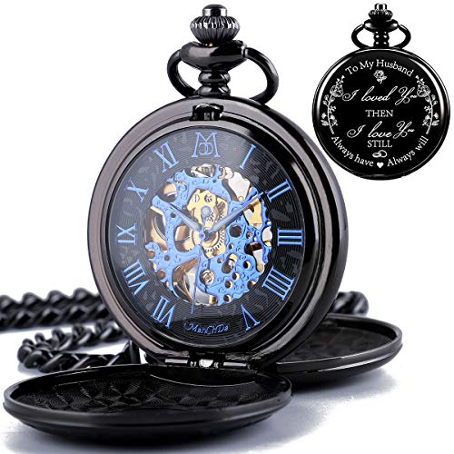 Roman Numerals Dial Skeleton Engraved Pocket Watch