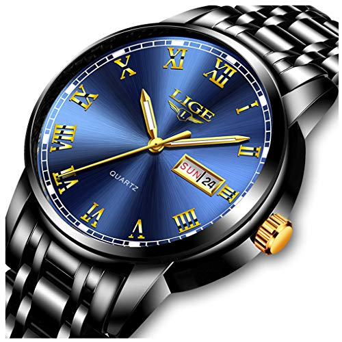 LIGE Watches Mens Fashion Sports Waterproof Analog Quartz Watch