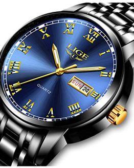 LIGE Watches Mens Fashion Sports Waterproof Analog Quartz Watch