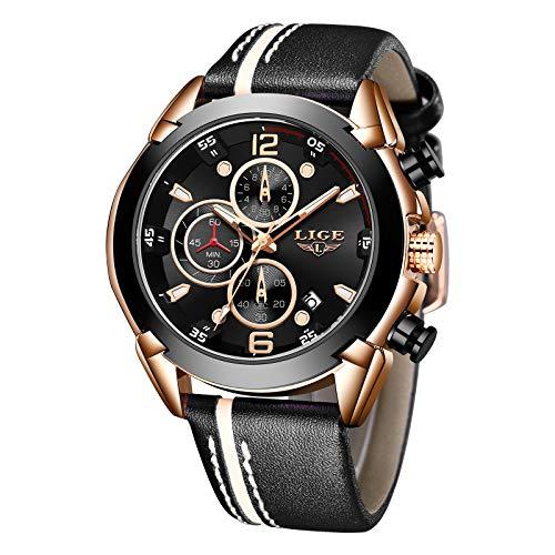 Chronograph Waterproof Analog Quartz Watch with Black Leather
