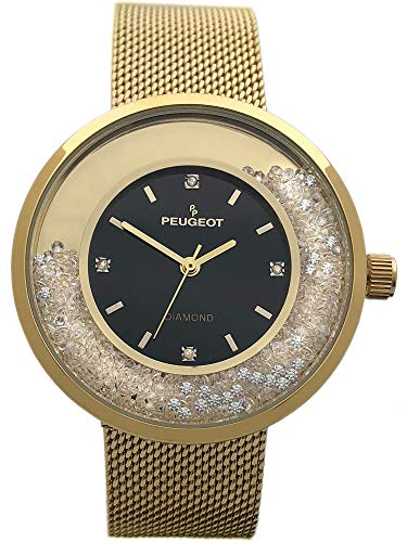 Peugeot Women's Luxury Watch, 14k Gold Plated Mesh Band