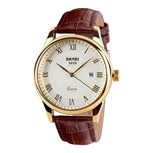 Waterproof Wrist Watch with Golden Dial Brown Leather Band