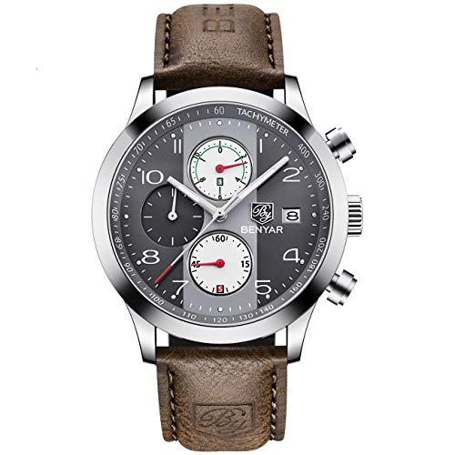 BENYAR Chronograph Waterproof Watches Business Leather Band Strap