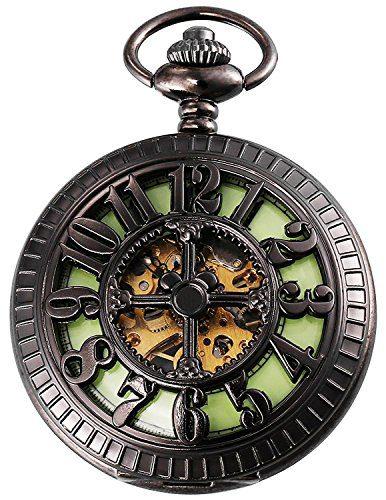 Luminous Dail Mechanical Pocket Watch Black Steampunk Skeleton